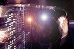 Nahaufnahmemusiker, der das Akkordeon auf dem Stadium spielt lizenzfreies stockfoto