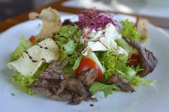 Nahaufnahmen des köstlichen Restaurantlebensmittels stockfotos