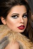 Nahaufnahmeporträt der jungen schönen Brunettefrau Lizenzfreie Stockfotos