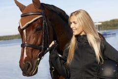 Nahaufnahmeporträt des Reiters und des Pferds Stockbilder