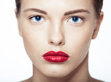 Nahaufnahmeporträt des sexy kaukasischen jungen Modells Lizenzfreies Stockfoto