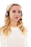 Nahaufnahmeporträt des tragenden Kopfhörers des glücklichen Kundendienstmitarbeiters Stockfotos