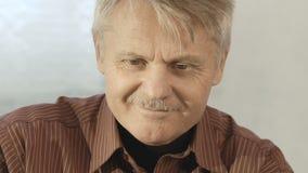 Nahaufnahmeporträt eines erwachsener Manneskünstlers mit Bart am Arbeitsstudio stock footage