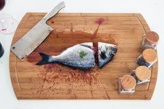Nahaufnahmeporträt eines geschnittenen Fisches Stockfotografie