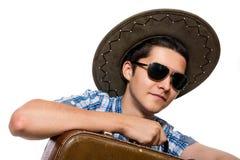 Nahaufnahmeporträt eines jungen Touristen Stockbilder