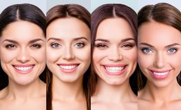 Nahaufnahmeporträt von vier netten attraktiven netten frohen positiven Mädchen mit sauberer klarer glatter weicher Glanzmakellose lizenzfreie stockfotografie