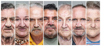 Nahaufnahmeporträtcollage von älteren Männern und von Frauen stockbild