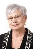 Nahaufnahmeportrait der älteren Dame Stockfotografie