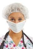 Nahaufnahmeportrait der Krankenschwester der jungen Frau Stockfotografie