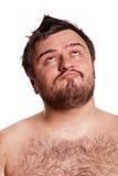 Nahaufnahmeportrait des ausdrucksvollen Mannes mit lustigem Gesicht Lizenzfreies Stockbild