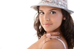 Nahaufnahmeportrait des hübschen Mädchens Lizenzfreies Stockfoto