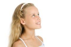 Nahaufnahmeportrait des recht jungen Mädchens Stockfotos
