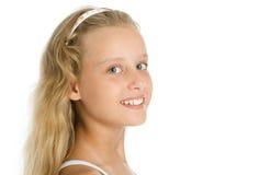 Nahaufnahmeportrait des recht jungen Mädchens Stockbilder