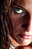 Nahaufnahmeportrait des wilden Mädchens Stockfotografie