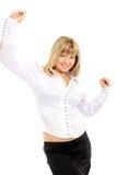 Nahaufnahmeportrait einer glücklichen jungen Frau trennte O Stockfotos