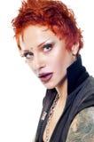 Nahaufnahmeportrait einer jungen punky Frau Lizenzfreies Stockfoto
