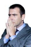 Nahaufnahmeportrait eines nachdenklichen besorgten Geschäftsmannes Stockfotos