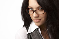 Nahaufnahmeportrait von bussineswoman lizenzfreies stockfoto