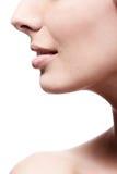 Nahaufnahmeprofil der Wekzeugspritze und der Lippen der Frau Stockfotos