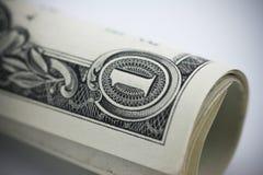 Nahaufnahmerolle von ein-Dollar-Banknoten lizenzfreie stockbilder