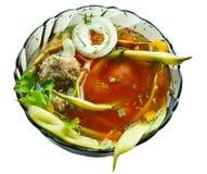 Nahaufnahmeschüssel Bohnesuppe mit teftel Lizenzfreies Stockfoto