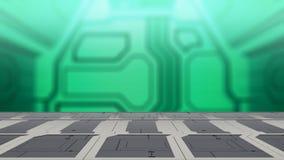 Nahaufnahmespitzenstahltabelle mit Illustration Unschärfesciencefiction Hintergrundes 3d stock abbildung