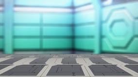 Nahaufnahmespitzenstahltabelle mit Illustration Unschärfesciencefiction Hintergrundes 3d vektor abbildung