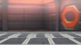 Nahaufnahmespitzenstahltabelle mit Illustration Unschärfesciencefiction Hintergrundes 3d lizenzfreie abbildung