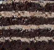 Nahaufnahmestück des Schokoladenkuchens: Schokoladenusskeks, Karamellcreme Selbst gemachtes Backen lizenzfreie stockfotos