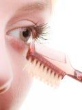 Nahaufnahmeteil des Frauengesichtsaugen-Make-updetails Stockfoto