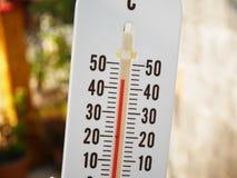 Nahaufnahmethermometer, der Temperatur in den Grad Celsius zeigt Lizenzfreie Stockbilder