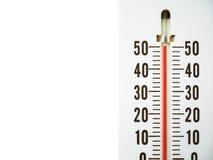 Nahaufnahmethermometer, der Temperatur in den Grad Celsius zeigt Stockfotografie