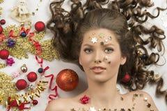 Nahaufnahmetrieb der Weihnachtsfrau Stockbilder