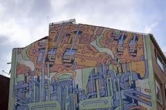 Nahaufnahmetrieb Straßender wandgraffitikunst in Istanbul stockfoto