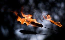 Nahaufnahmezunge der Flamme Stockbild
