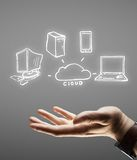 Nahd with computer network Royalty Free Stock Images