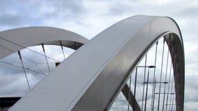 Nahe Ansicht über eine Hängebrücke Stockfotos