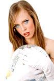 Nahe Ansicht der Frauenholding-Discokugel Stockfotografie