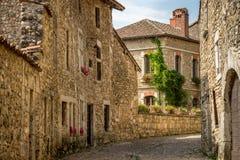 Nahe Ansicht des authentischen Steinhauses von Perouges, Frankreich Lizenzfreies Stockbild