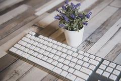 Nahe Ansicht einer modernen weißen PC-Tastatur stockfotografie