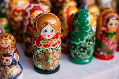 Nahe Ansicht OfColorful Matryoshka, traditionelle russische Verschachtelung tun Stockbild