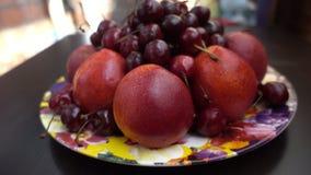 Nahe Ansicht von verschiedenen frischen Früchten, von Nektarinen und von Kirschen Stockfotos
