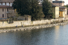 Nahe dem Fluss radfahren, Vaprio auf Adda, Italien Lizenzfreie Stockbilder