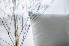 Nahe hohe Schlafzimmeransicht mit Kissen und getrockneten Anlagen stockfoto