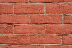 Nahe Perspektive der Wand des roten Backsteins lizenzfreie stockfotos