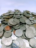Naher hoher Schuss des thailändischen Bades, Münzengeld von Thailand lizenzfreie stockfotografie
