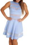 Nahes ehrliches Blau gepaßtes Kleid lizenzfreie stockfotos