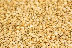 Nahes Foto von Samen des indischen Sesams, Hintergrund machte von den Samen des indischen Sesams stockfoto