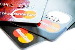 Nahes Foto von Visums- und MasterCard-Karten Stockbild
