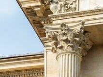 Nahes hohes der korinthischen Säule Stockfotografie